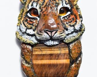 Tiger - Tigers Eye Crystal Animal Pendant