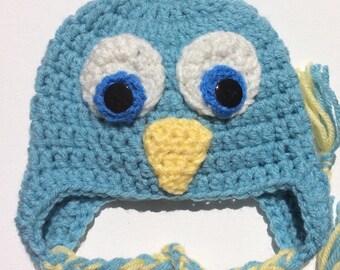 Baby Blue Bird Crochet  Earflap Hat/ photo prop