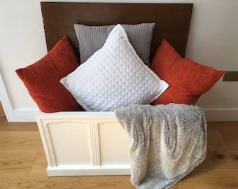 Large Vintage Blanket Box/Trunk/Ottoman - Farmhouse - Rustic - Farrow & Ball