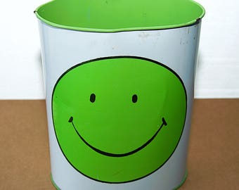 Lime Green Metal Smily Face Trash Can
