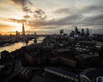 Sunset view London Bridge 2017 - Aerial Drone Photography - Digital file print