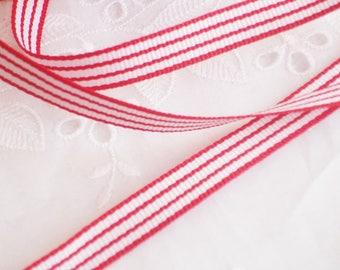 Grosgrain, weave, stripes, red / white 10mm - 3m