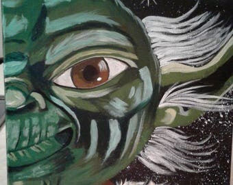 Yoda Face Acrylic Painting on Gallery Canvas