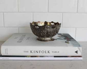 Vintage silver ornate pedestal bowl