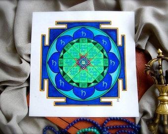 Prin poster, Saturn yantra, Shani yantra, Vedic astrology, Jyotish, Mandala poster, Vastu, Indian, Meditation, OM, Sacral geometry, Yoga