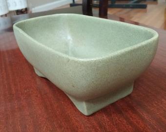 Vintage Mid Century McCoy Floraline Pottery Planter/Dish Green Speckled