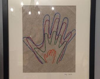 Family Handprint Embroidery