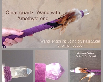 Clear Quartz Crystal Wand with Amethyst end In one inch copper