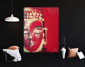 Original Buddha Acrylic Painting, 11x14 inch canvas panel, Acrylic painting on canvas