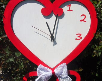 """Hand painted wooden clock """"HEART"""""""
