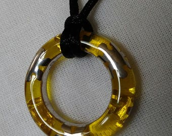 Alan K 'Designo' Round Resin and Silver Pendant