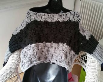 Standard bicolor sweater size made crochet