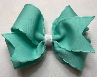 teal and white hair bow for girls 4.5 inches wide