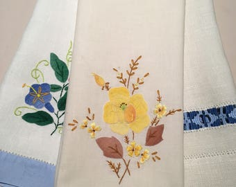 Three Vintage Embroidered Tray Cloths/Hand Towels