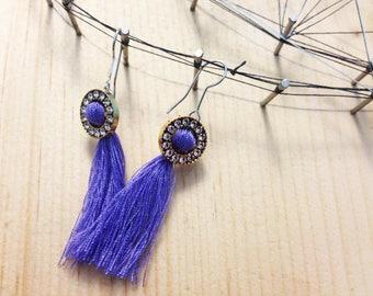 Handmade Tassel Earrings with Swarovski Crystal Elements
