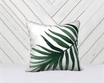 Green Leaf Throw Pillow Cover