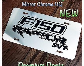 Ford F-150 Raptor SVT License Plate Custom Mirror Chrome New Weatherproof Logo//