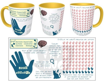 Lefty Infographic Mug // 11 or 15 oz // Learn interesting facts about left-handers