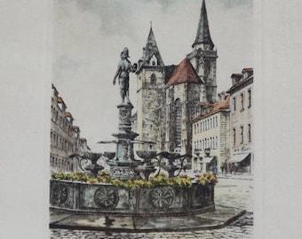 "Beautiful Print of Ansbach Germany 6 1/2"" x 8 1/2"" Artist: R. Lenz"