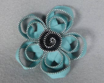 Blue Flower Brooch - Zipper Pin - Upcycled, Recycled, Repurposed