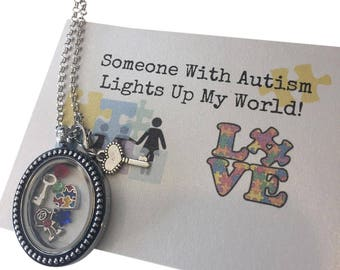 Vintage Style Autism Locket with Charms.  Choose Boy or Girl