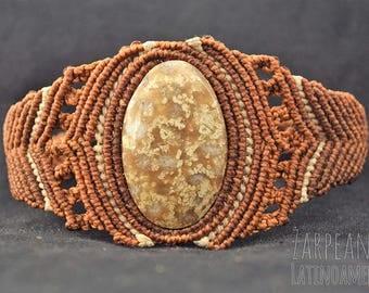 Macramé with coral fossil stone bracelet