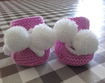 Slippers pink and white handmade 0-3 months