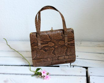 Vintage snakeskin leather handbag from the 70s with matching coin purse