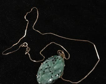 14k chain necklace with old carved jade
