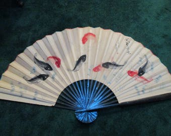 Vintage Authentic Oriental Wall Hanging Fan with Koi Scene-62x36
