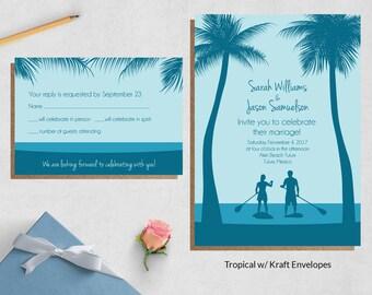 Beach Wedding Invites ~ Destination Wedding Invitation Sets ~ Tropical Wedding Invitations ~ Custom Wedding Invite Sets ~ Caribbean Wedding