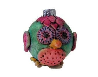 Green Owl  Christmas Ornament - Polymer Clay Bird Christmas Ball -Bird Christmas Decoration