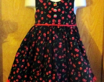 Hand Make Cherry Dress - Size 2T