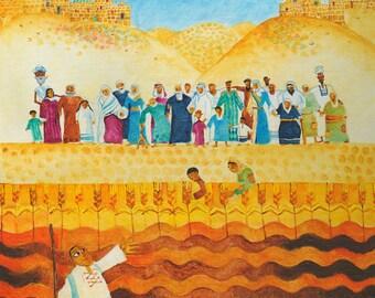 JEWISH ART, original painting, Judaica, naive art, bible verse wall art, Israel, israeli art, small canvas art, childrens art