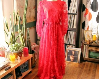 vintage red lace gown with balloon sleeves, floor length maxi dress, satin lined sheer sleeves . APPROX size womens large