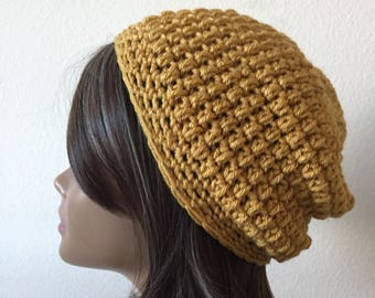 Slouchy Hat, Free Shipping, Mustard Yellow  Beanie, Butterscotch  Little slouch  Ready to Ship, Adult or Teen Modern slouchy, Trendy Beanie