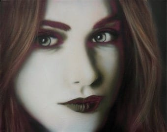 Original Painting, Female Portrait, Black and White, Green and Red, Canvas Painting