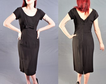 Vintage 1950's Little Black Dress / ROCKABILLY Wiggle Dress with SHELF BUST / size 4