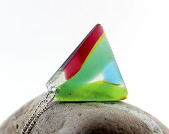 SALE - Geometric Jewelry Pendant - Fused Glass Necklace - Hand Carved in spring green aqua and red trapezoid shape
