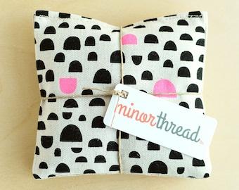 Modern Organic Lavender Sachet Set in Linen with Black and Pink Pebble Motif Handmade Hostess Gift - 2 Sachets Natural Home