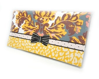 Chic checkbook cover - Sleek Damask - mustard, peach, slate, maroon - leopard print and damask check book holder - retro modern