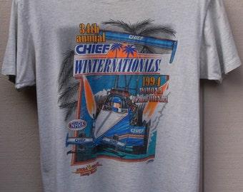 Vintage 90s NHRA Winston Cup Drag Racing Pomona California - 1994 Chief Internationals // Men's sz Lge - 40 - 42
