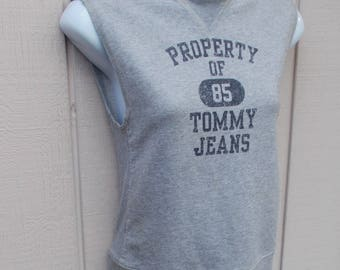 Vintage Gray Sleeveless Sweatshirt Tank Top by Tommy Hilfiger // Size Sml