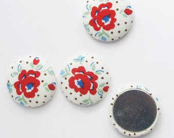 32mm Rose Fabric Cabochons | Three 1.25 inch flat backs for textile jewelry, making magnets, or attaching to a base/bezel.
