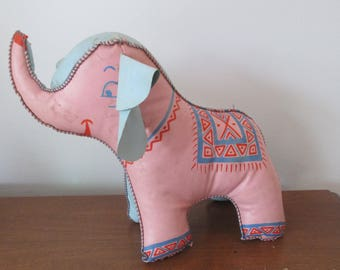 1940s Vinyl Oilcloth Stitched Stuffed Animal Elephant Toy