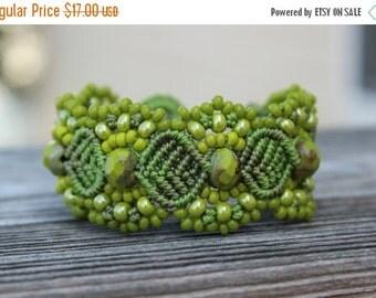 CYBER SALE Micro-Macrame Beaded Cuff Bracelet - Lime Green