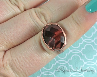 Gorgeous Red Tigerseye Ring | Faceted Tigers Eye | Electroformed | Sz 9.5 | Copper Ring | Plus Size Ring | Boho | Hippie Style | Gypsy Ring
