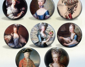 Marie Antoinette badges Set of 8 pin back buttons or magnets