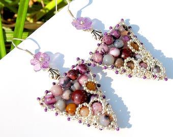Tribal,  Silver, Mosaic Triangle Frame Earrings, Southwestern Jewelry, Handmade Gifts