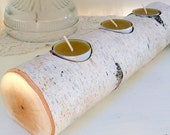 Rustic Birch Candle Holder with Three Tea Light Candles